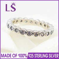 LS Hot Sale High Quality 100% Real 925 Silver Alluring Petite Brilliant Stackable Ring for Woman Sterling Silver Fine Jewelry N