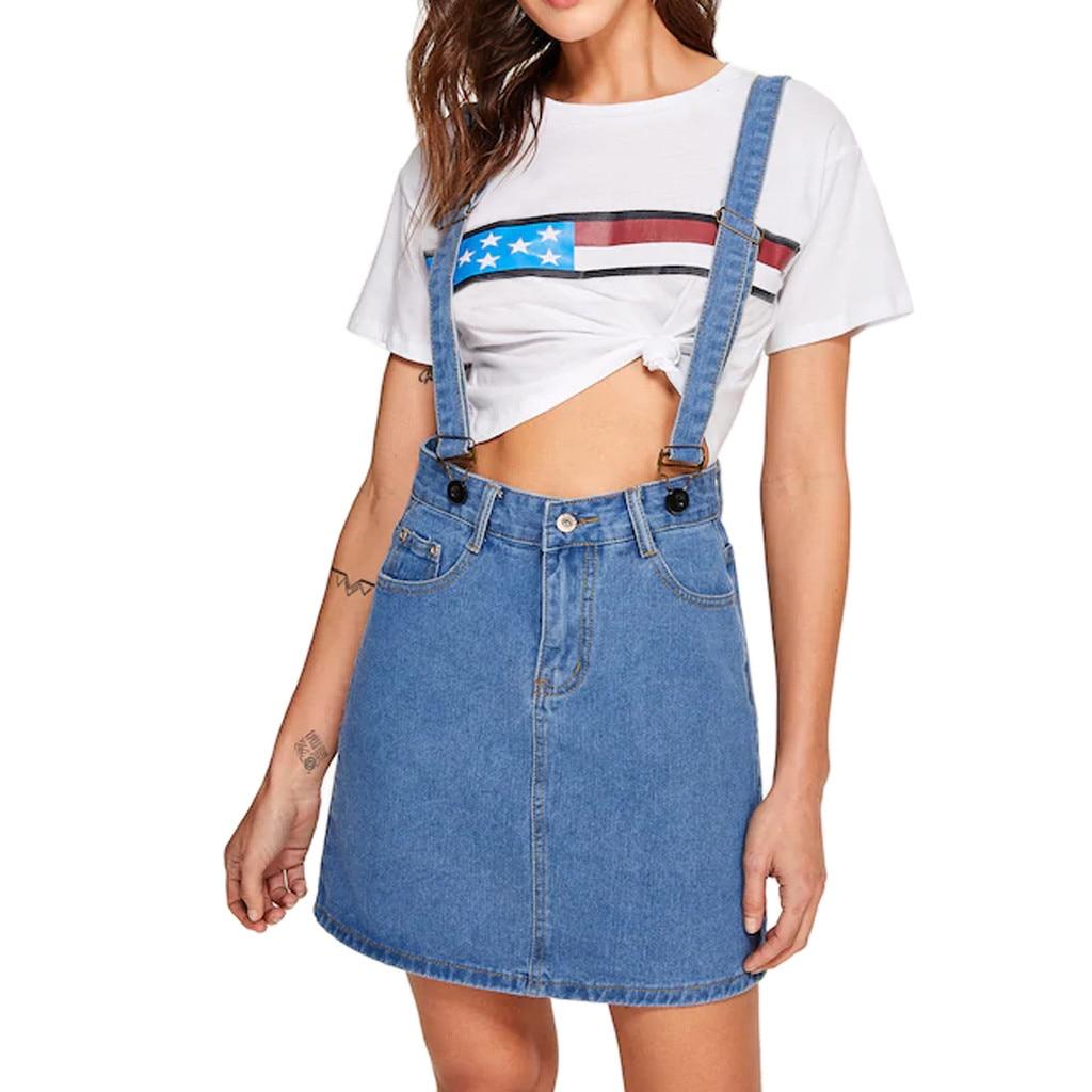 032ba3d7b8c Feitong Denim Strap Dress Women Casual Bib Ski rts Sling Button Mini Dresses  With Pockets Ladies