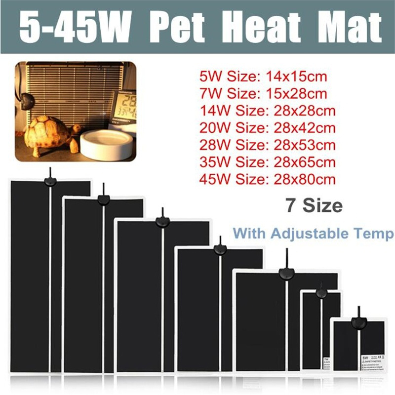 Pet Reptiles Heat Mat Terrarium Climbing Heating Warm Pads 5-45W Adjustable Temperature Controller Mats  Small Heater