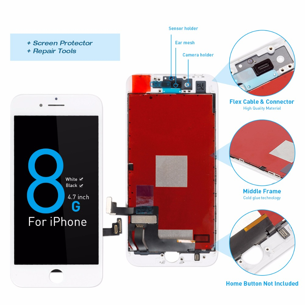 HTB1UcTrbiHrK1Rjy0Flq6AsaFXao Grade AAA+++ Screen For iPhone 8 8 Plus LCD OEM Display Digitizer Assembly Replacement With 3D Touch Warranty  Lens Pantalla