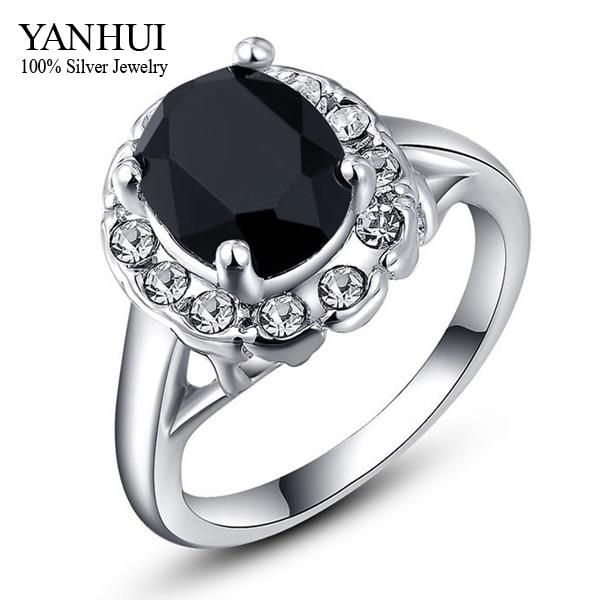 YANHUI Brand Fashion Back Stone Wedding Rings For Women Real White Gold Filled Black Zircon Crystal Rings For Women YR359