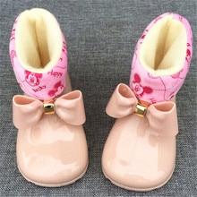 Водонепроницаемые детские резиновые сапоги, Желейная мягкая обувь для младенцев, зимние теплые детские меховые непромокаемые сапоги с бантом для девочек, детская непромокаемая обувь, теплая