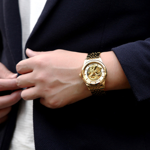 Image 4 - الفاخرة مضيئة التنين الهيكل العظمي التلقائي ساعات آلية للرجال ساعة معصم الفولاذ الذهب الأسود ساعة مقاوم للماء للرجال relogio