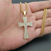 цена на Men Women Iced Out Cross Pendant Gold Silver Stainless Steel Rhinestons Cross Pendants Necklace Chain Fashion Hip Hop Jewelry