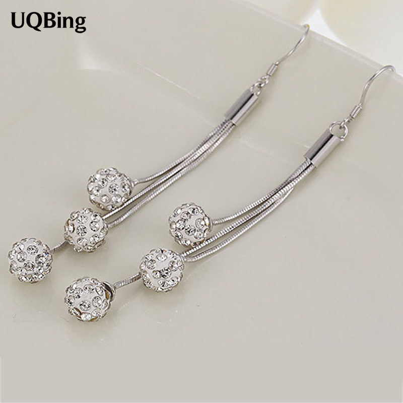 2016 New Design 925 Silver Drop Earrings Long Earrings With Crystal Beads Earrings For Women Free Shipping Brincos three button design drop earrings