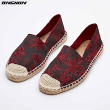 The autumn of 2016 the new female folk style jacquard pedal flat straw rope lazy fisherman leisure shoes the new lazy shoes a pedal female student harajuku style plaid canvas shoes