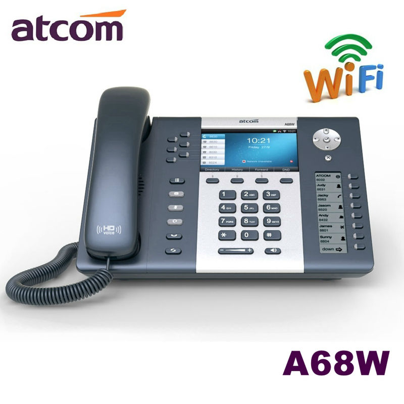 ATCOM A68W 6 SIP WiFi Entry-level business wireless Operator's SIP Phone, color screen IP Phone , Dual screen Desktop sip phone heds 9100 sip 5