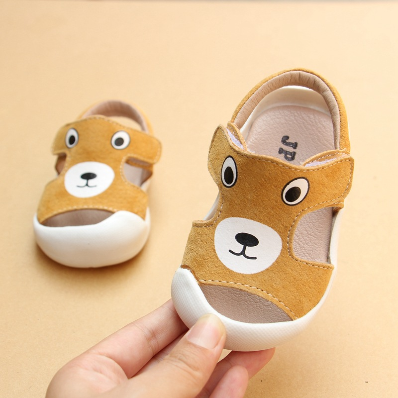 New Arrivals 2018 Summer Cute Little Bear Genuine Leather Baby Boys Girls Baotou Sandals Baby Toddler Shoes EU 16-20