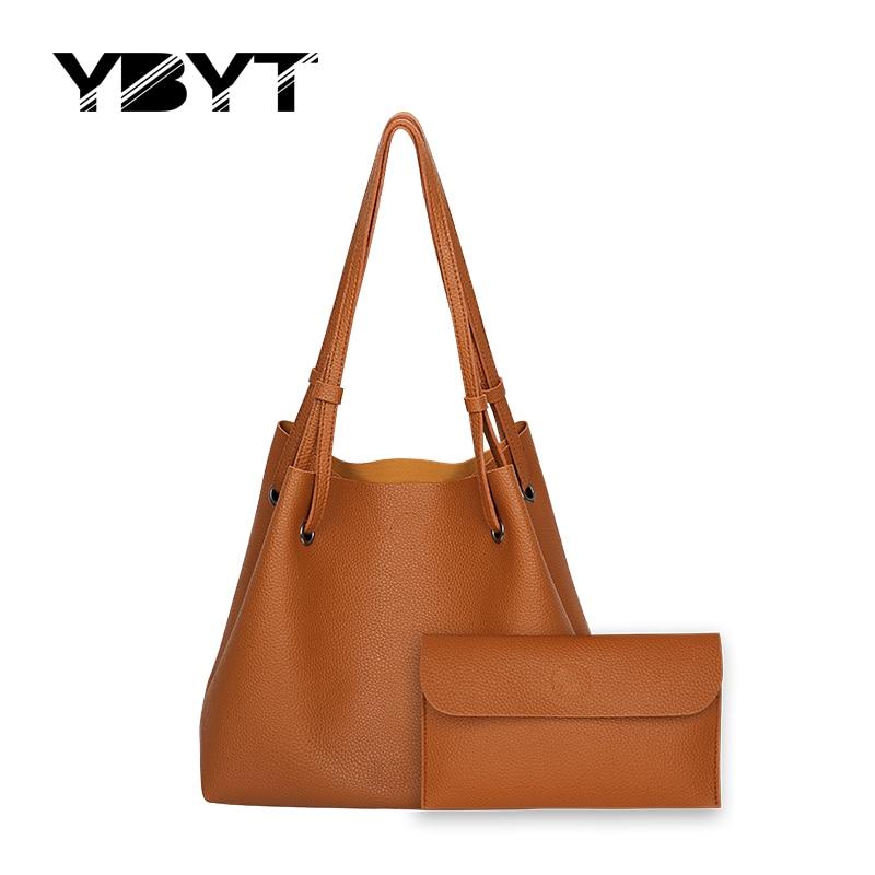 YBYT brand 2017 new bucket soft handbags hotsale fashion PU leather vintage wome