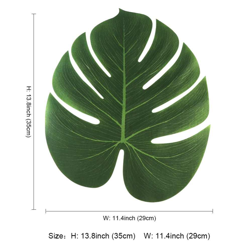 Ourwarm 36 pçs folhas artificiais para decoração tropical folhas de palmeira hawaiian luau selva praia tema fontes de festa 35x29cm