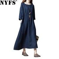 NYFS 2018 New Style Mùa Xuân Mùa Thu Phụ Nữ Ăn Mặc Loose Vintage Cotton Linen Rắn dài Dress Vestidos Robe Elbise