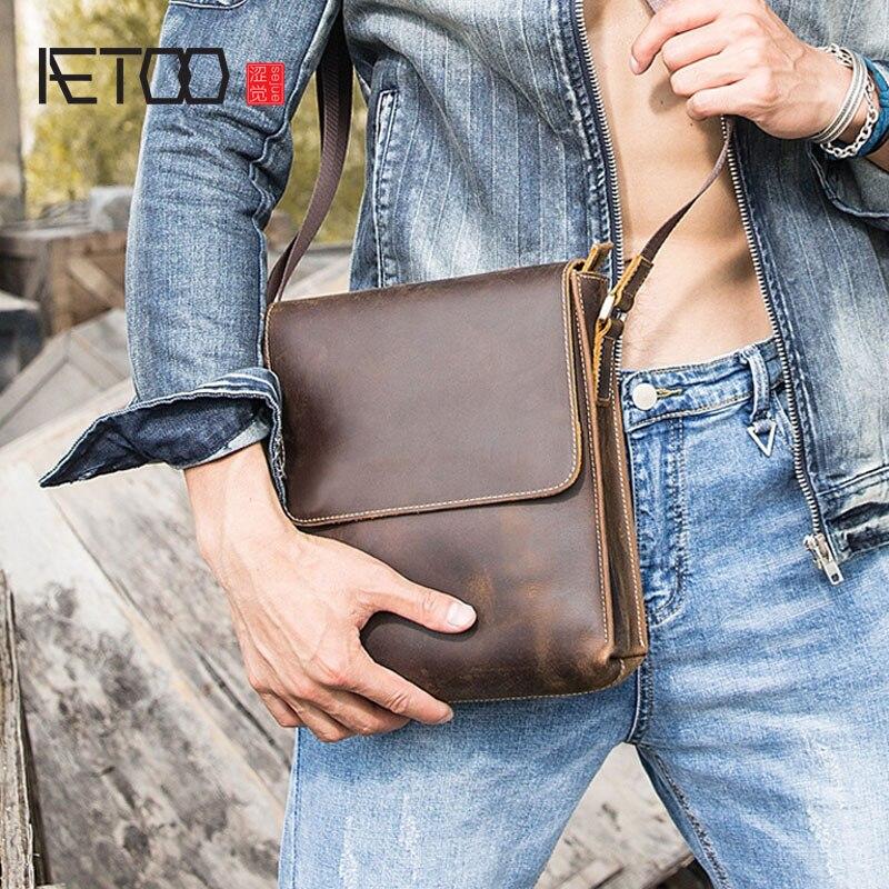 AETOO Leather men's bag shoulder bag casual men's Messenger bag Crazy horse skin retro messenger bag first layer leather men's все цены