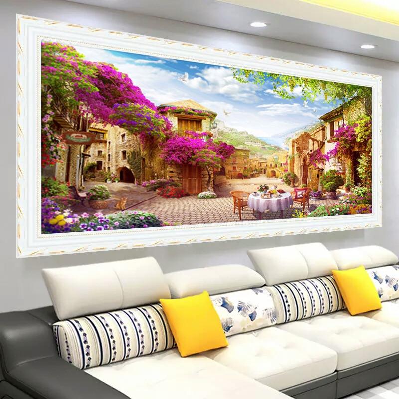 New Large Living Room Decorative Diamond Painting 5d diy Beautiful Garden Landscape Diamond Embroidery Scenery Diamond Mosaic-in Diamond Painting Cross Stitch from Home & Garden    3