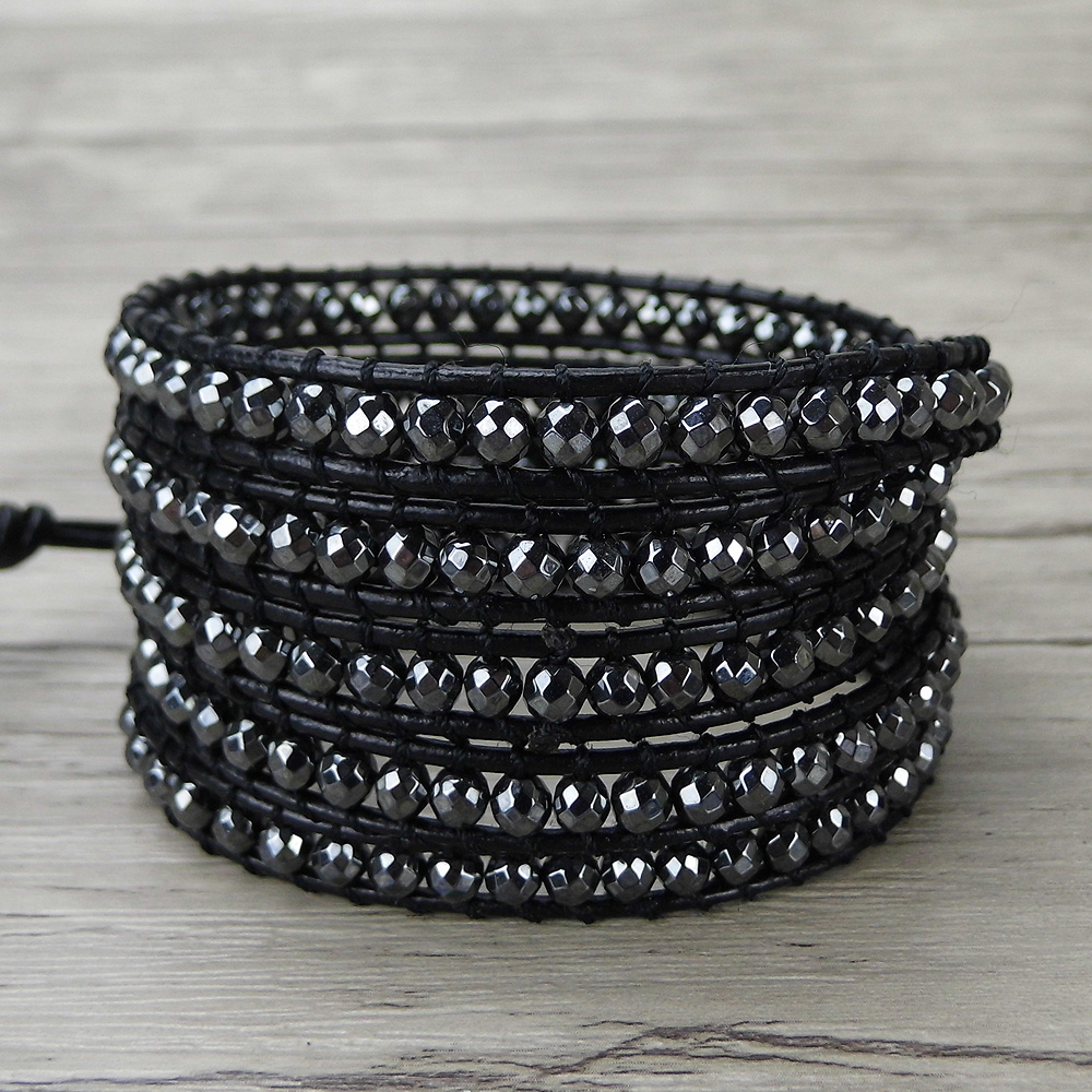 Hematite black beads wrap bracelet men bead bracelet boho wrap bracelet yoga leather wrap jewelry wooden breads hand woven wrap bracelet