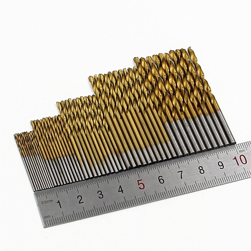 HSS 50Pcs/Set Twisted Drill Bit Set Saw Set Steel Titanium Coated Drill Woodworking Wood Tool 1/1.5/2/2.5/3mm For Metal