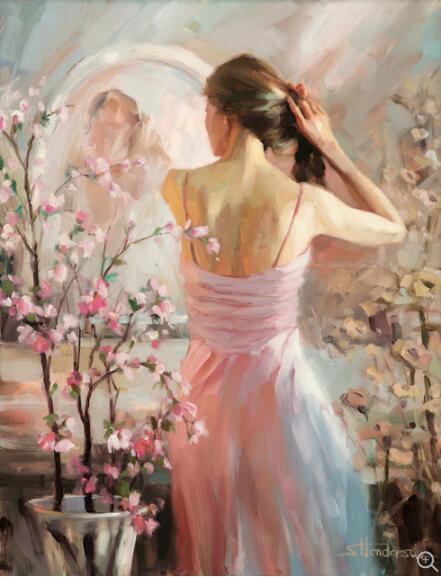 Compétence peintre fait à la main belle fille toilettage peinture murale Impression Art Figure peinture à l'huile pour salon décor image