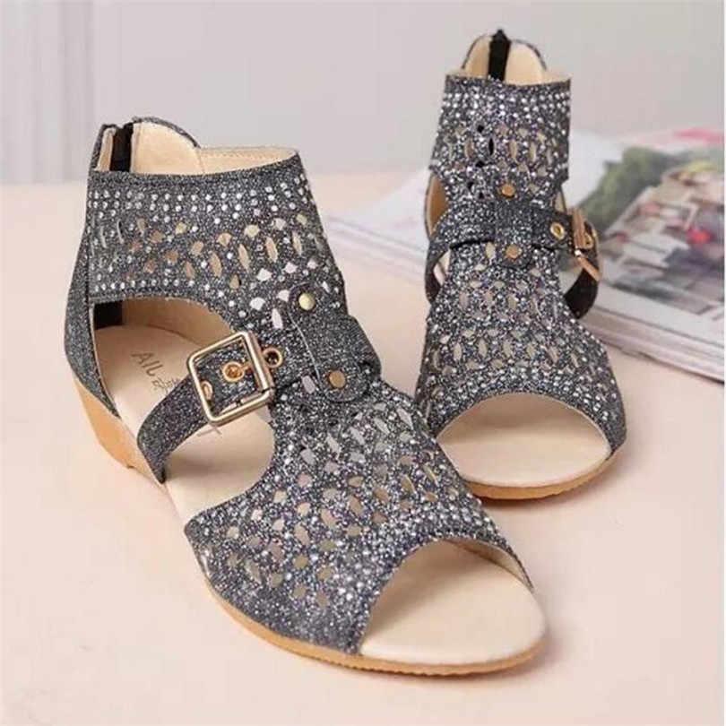 Sandalias de gladiador de mujer LIN KING Rome Vintage con cremallera alta punta abierta de verano solo zapatos con hebilla perforada sandalias de cuña para mujer