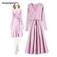 Solid Soft Warm Sweater Dress Winter Autumn Women Cloths 2018 Casual Pink Dress Elegant Women V neck Big Swing Knitted Dress