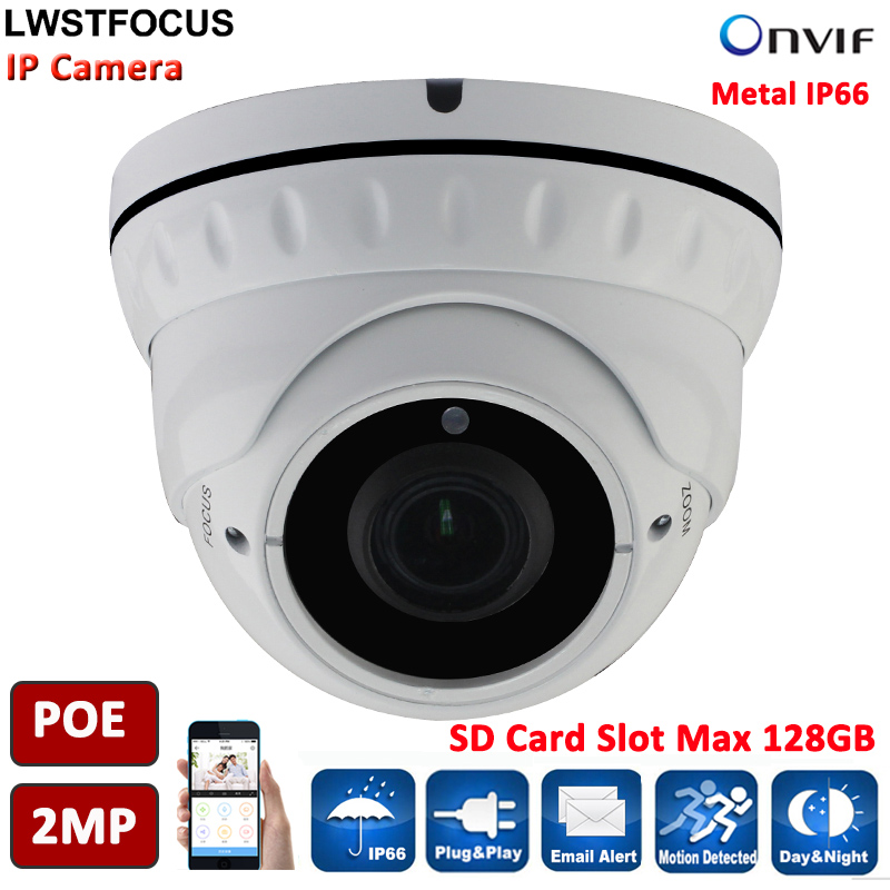 ФОТО LWSTFOCUS 2MP POE Dome Network CCTV IP Camera Built-in POE SD Card Slot 1080P Outdoor Camera CCTV Security Full HD 1080P IP66