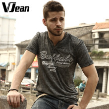 V JEAN Men's Old Fashioned Graphic Notch Neck T Shirt Washed #2A141