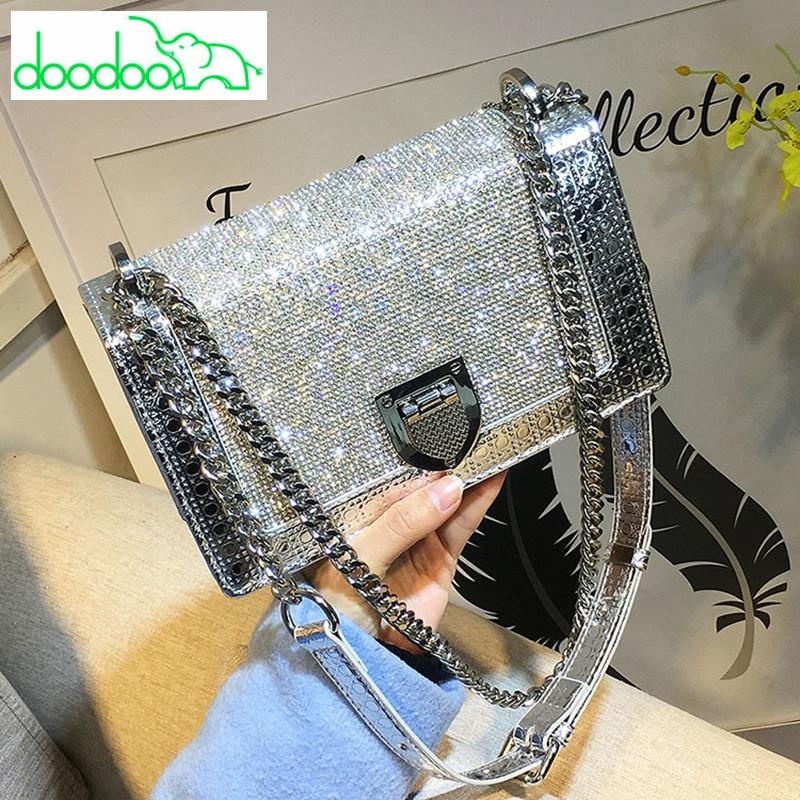 2018 Women's Diamond Lattice Bag Shiny Silver Gold Black Shoulder Bag Luxury Brand Design High Quality Chain Women Messenger Bag карабин black diamond black diamond rocklock twistlock