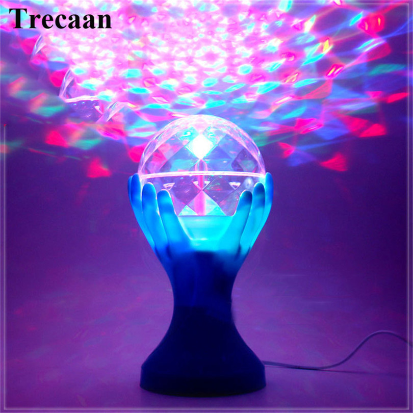 Trecaan Auto Rotating RGB LED Stage Lamps Palm Crystal Magic Ball Stage Effect Lighting Lamp Party Disco DJ Light 110V 220V auto rotating rgb led stage light voice control holiday party disco club bar ktv dj led crystal magic ball lighting effect lamp