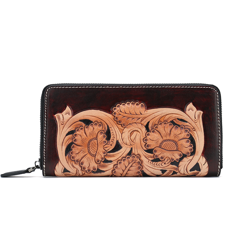 hand made Cowhide Leather Women Wallets chinese vintage flower Long Womens wallets and Purses Zipper Purse handmade men wallets cowhide engraved cross devil pestle ornaments womens wallets and purses long leather clutch purse