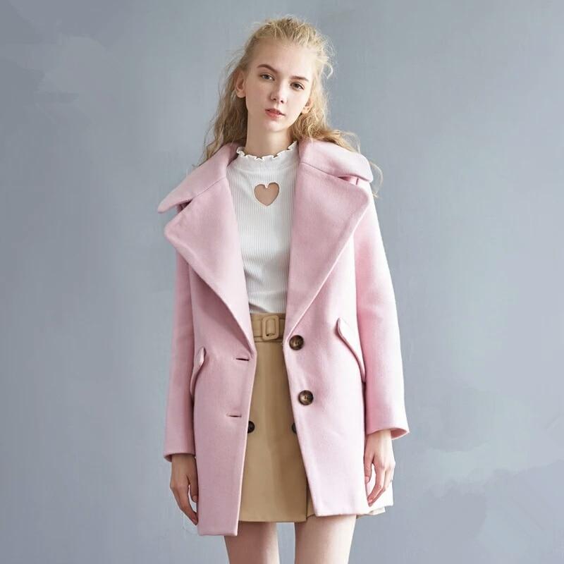 Women's Winter Sweet Wool Coat Fashion Pink Light Purple Blue ...