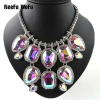 Big Rhinestone Choker Glass Necklace Pendants Europe And America Charm Necklaces Luxury Jewerly