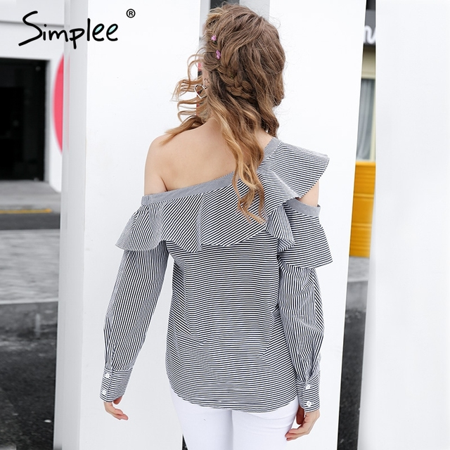 Simplee One shoulder blouse shirt women tops Summer blouses and shirts chemise femme Ruffle long sleeve striped shirt blusas