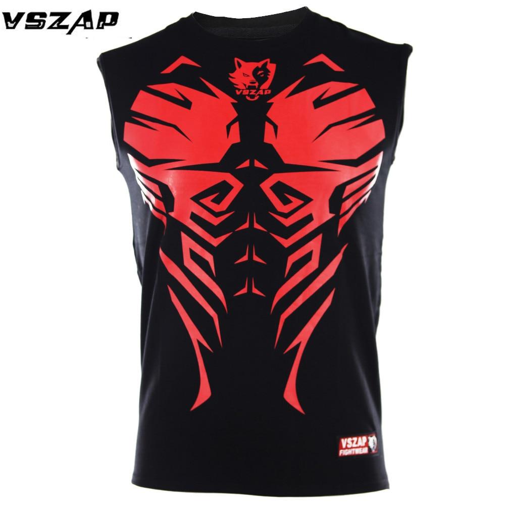 VSZAP Boxing Jerseys MMA T-shirt Men Fitness Training Gym T Shirt Combat Fighting Wolf Running Muay Thai T Shirt