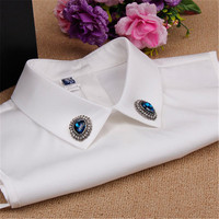 Women Shirt Fake Collar Diamond Decor White Spring Summer Blouse Collar New Design Fashion Casual Fake