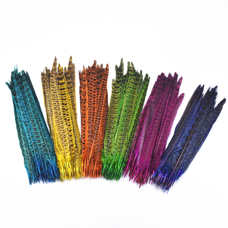 10pcs Dyed Multicolor Chicken Feather Pointed Tail For Decoration Craft Gold