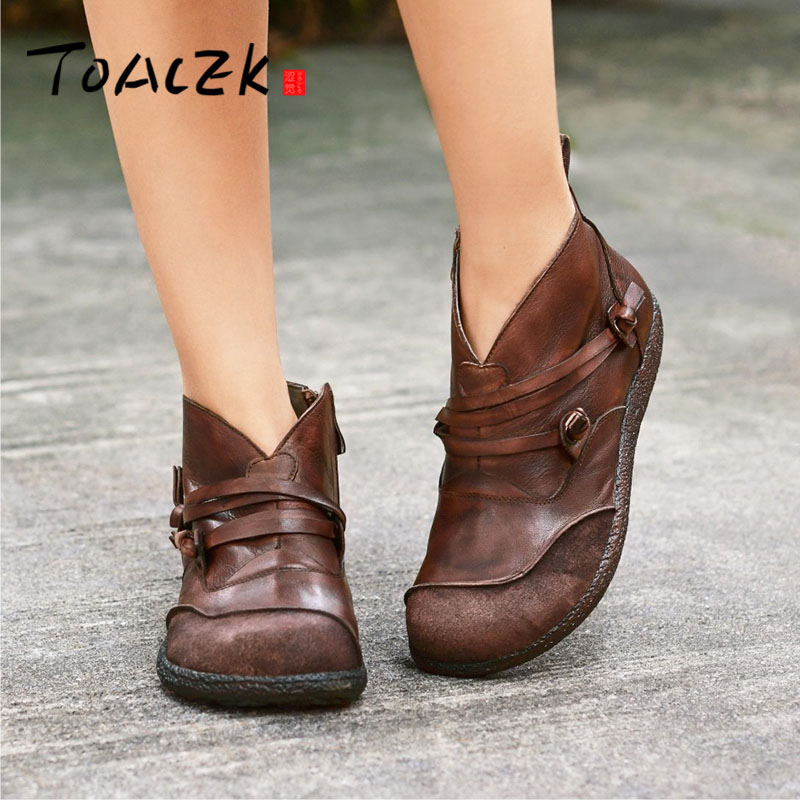 Original hand made leather women s short boots flat comfortable personality retro casual boots
