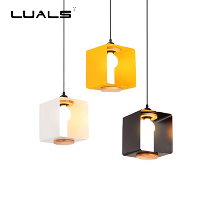 Nordic Pendant Lamp Simple Pendant Lights For Dining Room Modern Macaron Iron Art LED Hanging Lamp Creative Square Home Lighting modern simple european style dining room lighting american hollow carved iron bedroom pendant lights