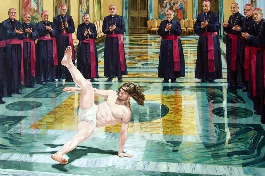 Breakdance ศาสนาพระเยซู Cist อารมณ์ขันพิมพ์โปสเตอร์ผนังตกแต่ง 24x36 นิ้วที่กำหนดเองพิมพ์