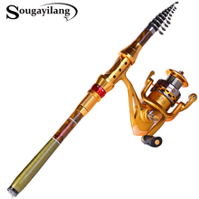 Sougayilang Fishing Rod Combo Kit Carbon Fiber Telescopic Pole With Full Metal Reel Set Trolling Carp Fishing Tackle De Pesca