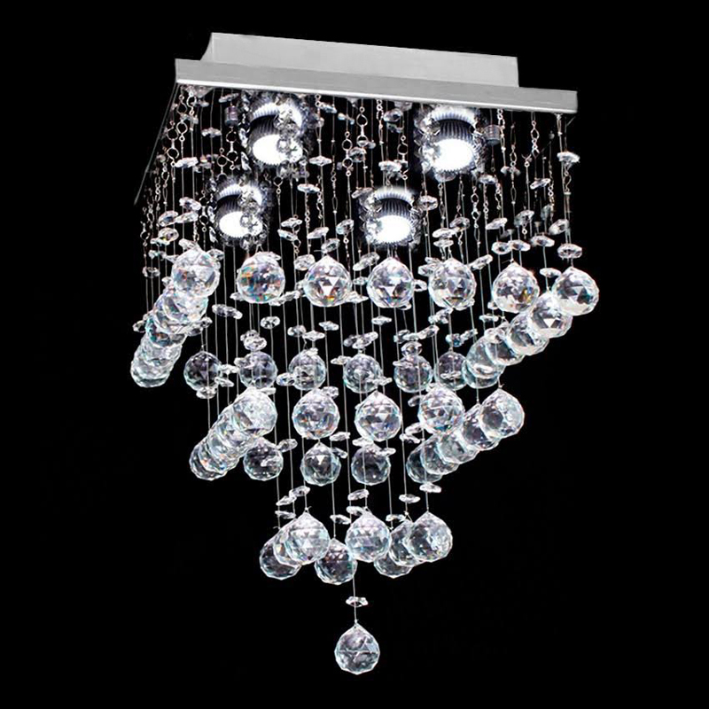 Modern Square Rain Drop Clear K9 Crystal Ceiling Light Lamp Contemporary Chandelier Ligh ...