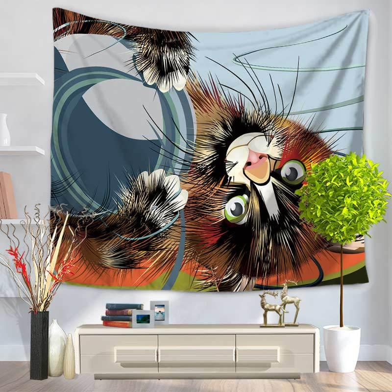 CAMMITEVER Weihnachtsgeschenk Tier Wandteppiche Wandbehang Katze ...