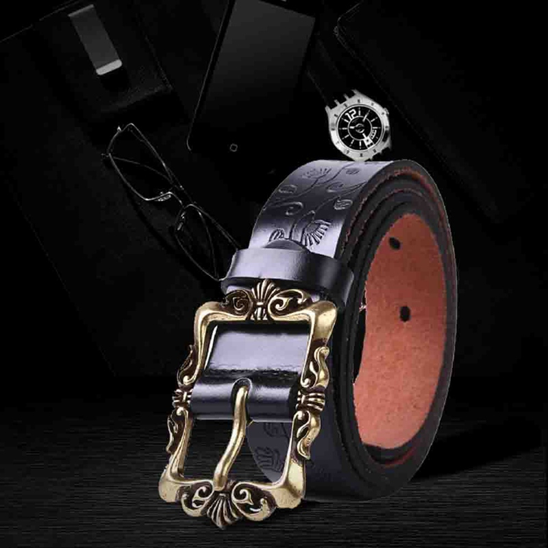 Fashion Wide Leather Belts For Women Vintage Floral Pin Buckle Woman Belt High Quality Second Layer Jeans Strap