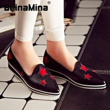 women real genuine leather party casual flats leisure shoes sexy fashion brand ladies shoes Zapatos Mujer size 33-43 R5948