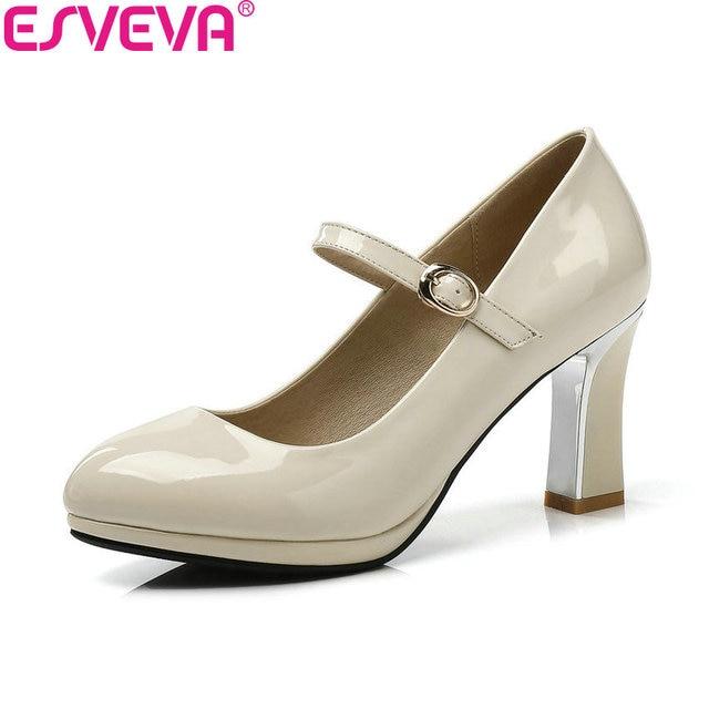 ESVEVA 2018 Mulheres Bombas Patente Correia de Couro Fivela Quadrada Alta sapatos de salto Dedo Do Pé Redondo Plataforma 1 cm Bombas Sapatos para Mulheres Tamanho 34-43