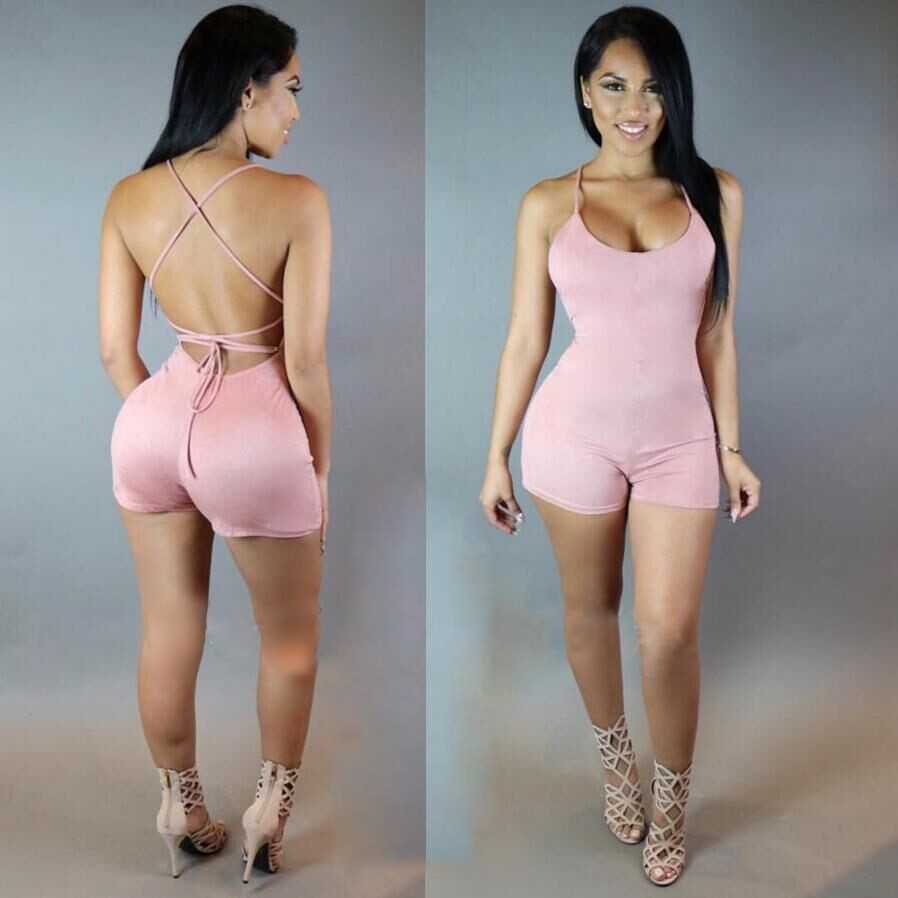 BKLD Rompers Womens   Jumpsuit   Summer 2018 Fashion Women Lace Up Backless Bodysuit Sexy Playsuits And   Jumpsuit   Female Clubwear