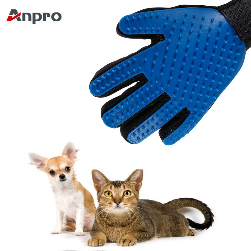 Anpro Cat Pet Grooming Deshedding Brush Gloves Effective Cleaning Back Massage Animal Bathing Fur Hair Removal Cat Dog Combs