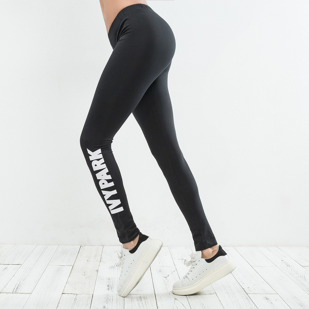 Top Quality 2018 Woman Sporting Pants Workout Fitness   Leggings   High Waist Black Brand IVY PARK Letter Print Skinny Casual