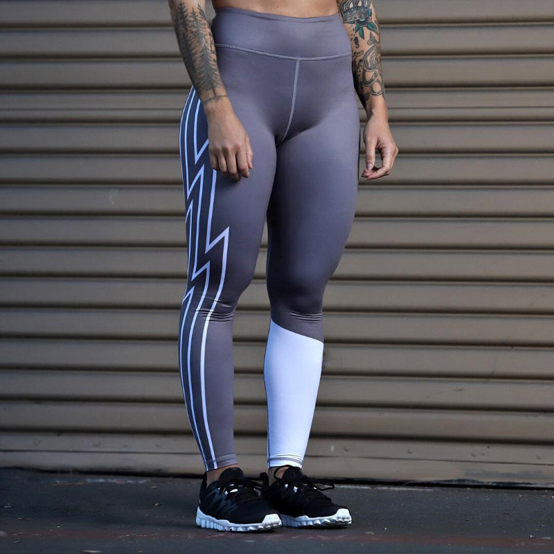 Women's Casual High Waist Print Legging Geometric Stitching Leggings Push Up Leggins Mujer Slim Fitness Pants Punk Sexy Leggings