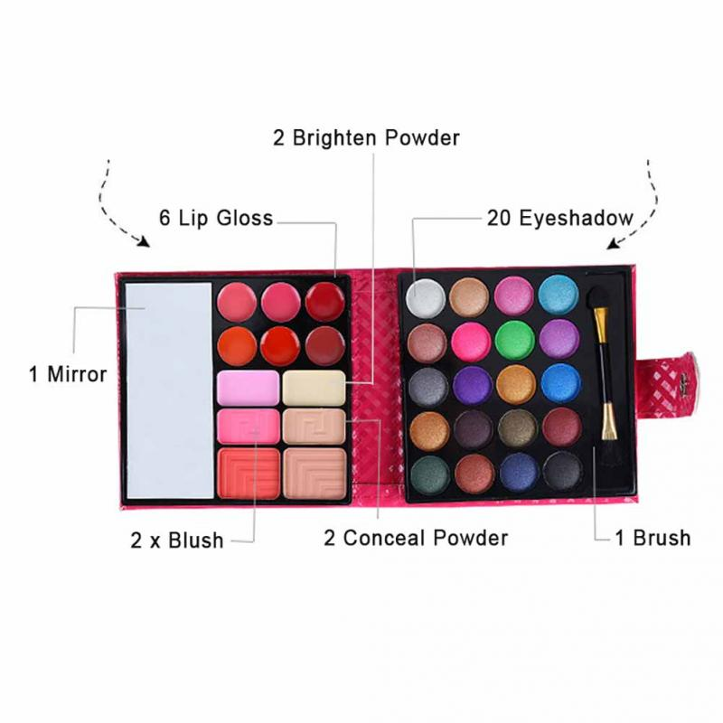 Image 5 - Cosmetics Shimmer Pearl Eyeshadow Palette Natural 32 Colors Makeup Up Modification Lip Gloss Blush Set Brush Button Bag-in Makeup Sets from Beauty & Health