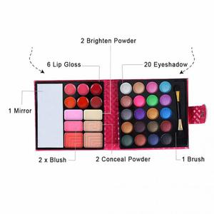 Image 5 - Cosmetics Shimmer Pearl Eyeshadow Palette Natural 32 Colors Makeup Up Modification Lip Gloss Blush Set Brush Button Bag