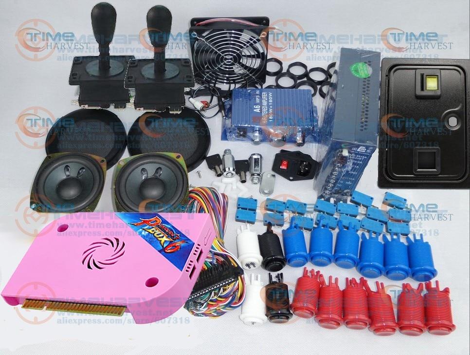 새로운 아케이드 부품 판도라 박스 번들 키트 6 개 아메리칸 스타일 조이스틱 버튼 코인 도어 동전 거치대 잼 하네스 아케이드 캐비닛