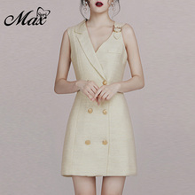 Max Spri 2019 New Sexy Double Breasted Notched Collar Sleeveless Mini Dress Casual Outfit Women Fashion Formal
